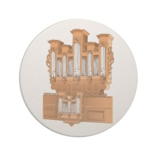Pipe Organ, Church Organ Graphic Brown Beverage Coaster