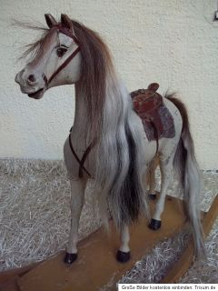 ANTIQUE GERMAN ROCKING HORSE 1880 WOOD   WHITE HORSE CHEVAL BASCULE