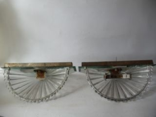 Vtg Art Deco Mirrored Slip Glass Shades Sconces Mid Century Wall Lamps