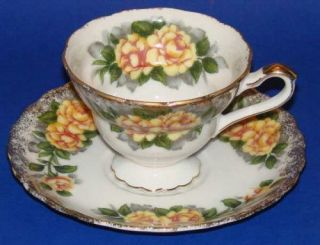 Yellow Roses Porcelain Tea Cup Saucer Gold Luster China