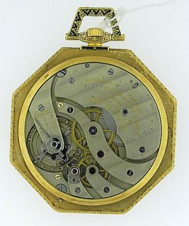 Patek Philippe Murat 18KYG Enamel Octagonal Open Face Pocket Watch