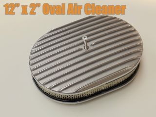 12in x 2in Full Finned Polished Aluminum Oval Air Cleaner Filter 5 1