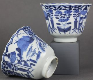 Fine Pair Antique Chinese Kangxi Porcelain Beakers with Unusual Marks