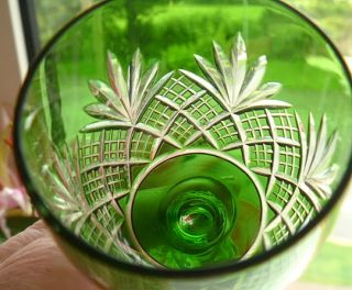 Bohemian Harlequin Glass 2 Emerald Green Sherry Glasses
