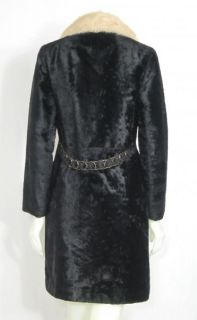 VINTAGE 1960 BLACK FAUX VELVET FUR & WHITE MINK COLLAR GOLD BACK BELT