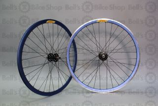 Velocity Deep V Track Wheels Blue Anodized Fixed Gear 700c