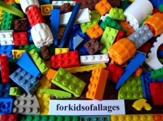 Lot 100 Parts COLORS Lime Orange Green+ Bricks Blocks Plates Wheels 2A
