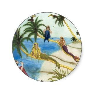 Mermaids Toucans Flamingo Palm Trees Art Round Stickers