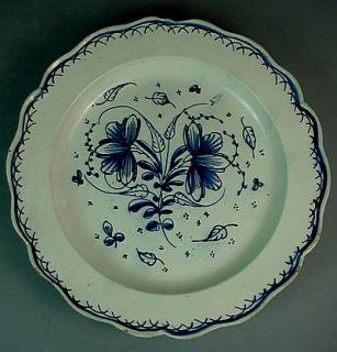 White Delft Pottery Plate w Scalloped Rim Floral Decoration