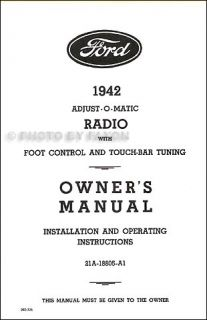 1942 Ford Radio Installation and Owner Manual 42