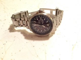 Citizen Stainless Eco Drive Nighthawk Pilot Mens Watch BJ7000 52E