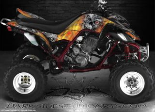 Yamaha Raptor 660 ATV Graphics Machinehead Fire Edition Reaper Skull