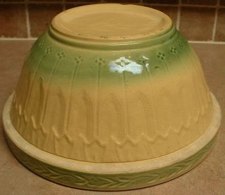 Massive 6 Qt Yellow Ware Yellow Green Mixing Bowl 12