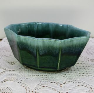 Hull Pottery Green Drip 10 Panel SM Planter Flower Pot
