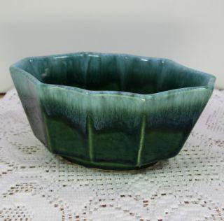 Hull Pottery Green Drip 10 Panel SM Planter Flower Pot