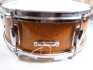 Pearl Snare Drum Gold Orange Sparkle Made in Japan Vintage Pearl Drum