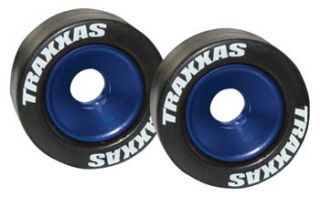 Traxxas Wheelie Bar Wheels & Tires w/Bearings (2 ea) Blue
