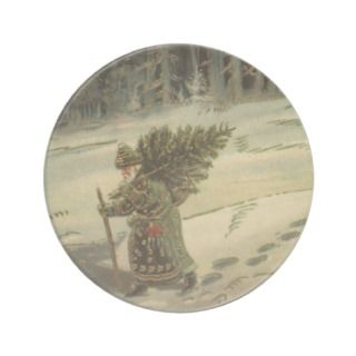 Vintage Santa Claus Carrying a Christmas Tree Coaster