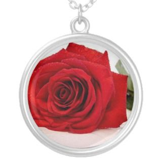 Long Stem Red Rose Necklace