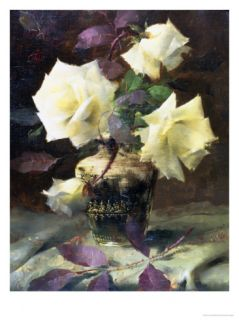 Study of White Roses Giclee Print by Frans Mortelmans