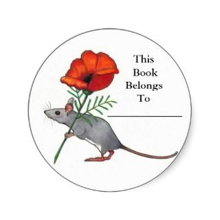 Mouse With Flower Book Plate Color Pencil Sticker
