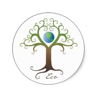 Stickers Swirly heart tree with planet earth