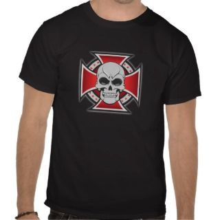 Skull & Iron Cross Vector Drawing T Shirts