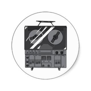 Reel To Reel Tape Recorder Player ~ Vintage Round Sticker
