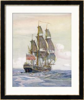 Captain James Cooks Ship Framed Giclee Print
