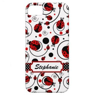 Cute Ladybugs and Swirls Name iPhone 5 Case iPhone 5 Cases