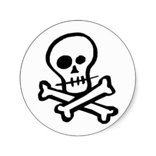 Simple B&W Skull & Crossbones design on party favors, stickers, t