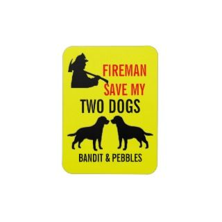 Custom Two Dog Fire Safety Rectangular Magnet