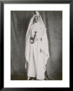 T E Lawrence (Lawrence of Arabia) Full Length Photograph in Arab Dress Pre made Frame