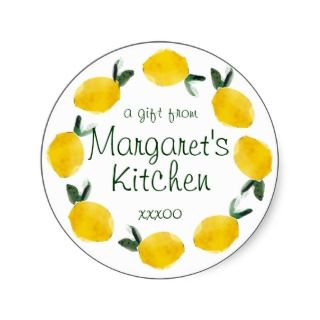 lemon fruit cooking baking gift tag stickers