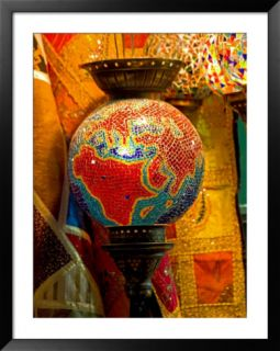 Stained Glass Lamp Vendor in Spice Market, Istanbul, Turkey Framed Photographic Print