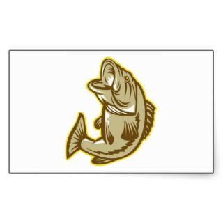 Largemouth Bass Fish Jumping Retro Sticker