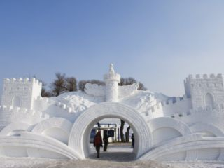 Snow and Ice Sculpture Festival at Sun Island Park, Harbin, Heilongjiang Province, Northeast China Photographic Print by Kober Christian