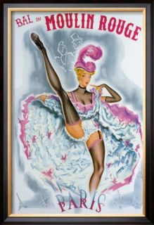 Bal du Moulin Rouge, French Cancan Framed Giclee Print