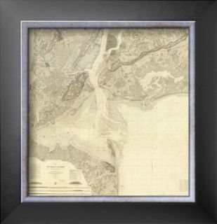 Map of New York Bay and Harbor and The Environs, c.1844 Framed Giclee Print