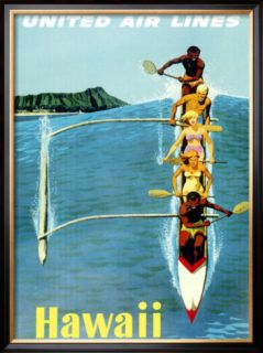 United Airlines, Hawaii Outrigger Framed Giclee Print