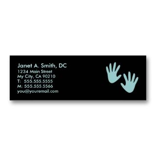 These chiropractic business cards feature sky blue text and hand