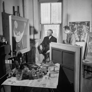 Artist Morris Kantor Showing His Paintings to Homer Saint Gaudens Premium Photographic Print by Ralph Morse