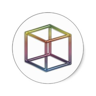 Optical Illusion   Impossible Cube Round Stickers