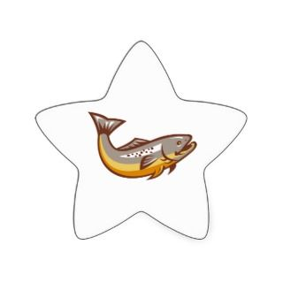 Trout Fish Jumping Retro Stickers