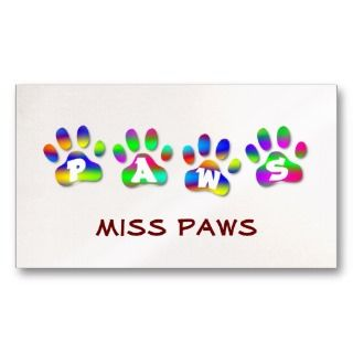 Paws Rainbow Color Pawprints Business Card