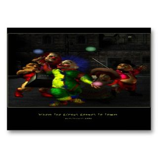 The Circus Comes To Town   Artist Trading Car Business Card Templates