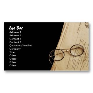 Vintage Eye Doctor Specs & Glasses Business Cards