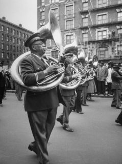 Prince Hall Masonic Temple Band Leading with C. Handys Funeral March Through Harlem Premium Photographic Print