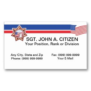 business card for law enforcement officers sheriffs police officers