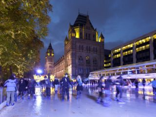 Christmas Ice Skating Rink Outside the Natural History Museum, Kensington, London, England, United  Photographic Print by Stuart Black